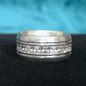 Other - Mens 11mm Wide Sterling and Square CZs Ring